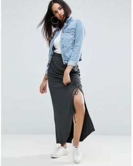 Jersey Maxi Skirt With Thigh Split And Channelling Detail