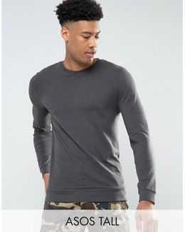 Tall Lightweight Muscle Sweatshirt In Washed Black