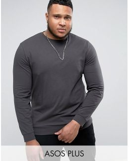 Plus Lightweight Muscle Sweatshirt In Washed Black