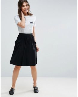 Jersey Midi Skirt With Pockets