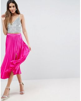 Satin Pleated Midi Skirt With Thigh Split