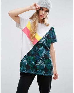 T-shirt With Spliced Palm Sports Print
