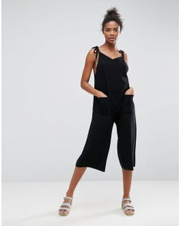 Knitted Jumpsuit With V Neck And Wide Leg