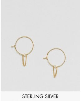 Gold Plated Sterling Silver 20mm Hoop Chain Earrings