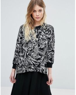 Tattoo Jumble Print Wool Mix Knit Jumper