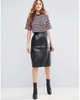 Patrice Pleather Volume Skirt
