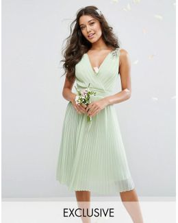 Wedding Pleated Midi Dress With Embellished Shoulder
