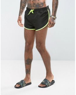 Swim Shorts With Extreme Side Split In Black With Side Mesh Detail In Super Short Length