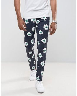 Skinny Smart Pant With Blue Floral Print