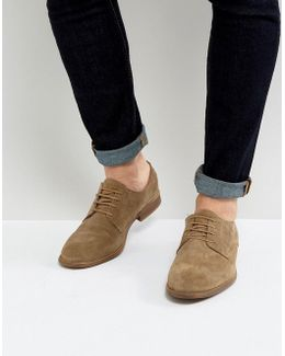 Derby Shoes In Taupe Suede