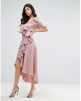 Frill Midi Dress With Cold Shoulder