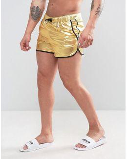 Runner Swim Shorts In Gold Metallic In Short Length