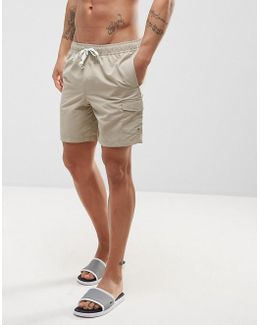 Swim Shorts With Cargo Pocket And Drawcord Detail In Stone Mid Length