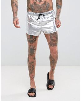 Swim Shorts With Extreme Side Split In Silver Metallic In Super Short Length