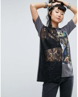 T-shirt With Lace And Mesh And Photographic Print