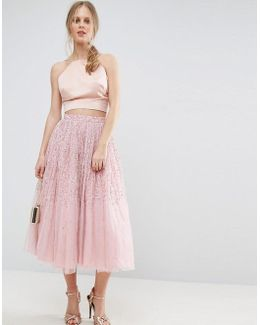 Tulle Prom Skirt With Embellishment