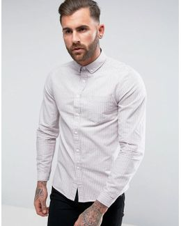 Regular Fit Striped Oxford Shirt In Pink