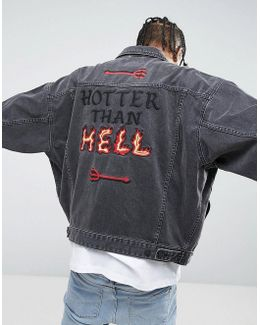 X Lot Stock Oversized Denim Jacket With Embroidery In Black Wash
