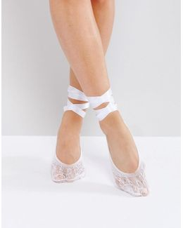 Lace Ballerina Socks With Lace Up Detail