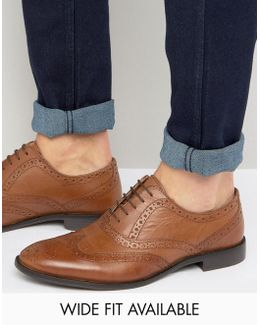 Oxford Brogue Shoes In Tan Leather - Wide Fit Available