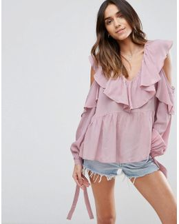 Cold Shoulder Blouse With V-neck And Ruffles