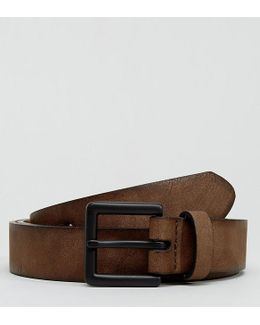 Plus Slim Belt In Faux Leather With Burnished Edges
