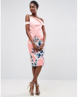 Print Pink Floral Asymmetric Placement Bardot Midi Dress
