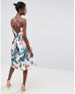 Tropical Ruffle Back Midi Prom Dress