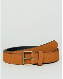 Slim Belt In Tan Faux Suede