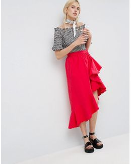 Denim Flamenco Skirt In Red