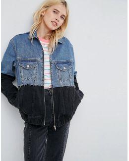 Denim Contrast Hem Jacket