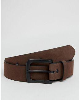 Wide Belt In Brown Faux Suede
