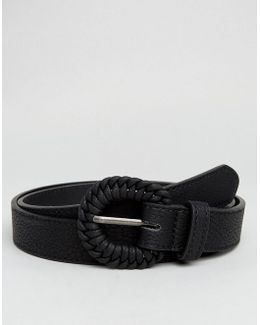 Slim Belt In Faux Leather With Vintage Wrapped Buckle