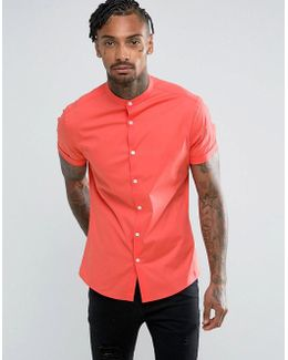 Skinny Shirt With Grandad Collar In Coral
