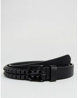 Slim Belt In Faux Leather With Black Coated Studs
