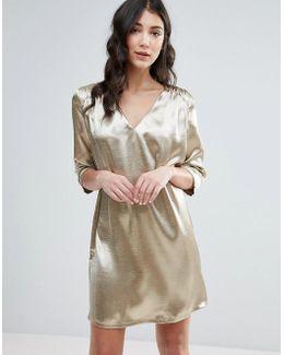 3/4 Sleeve Satin Shift Dress