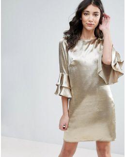 3/4 Ruffle Sleeve Shift Dress