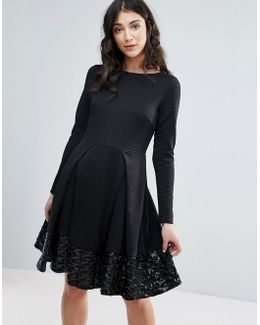 Long Sleeve Skater Dress With Pleat Detail