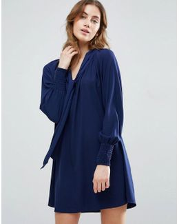 Smock Dress With Tie Front Detail