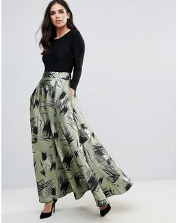 Maxi Dress With Contrast Printed Skirt