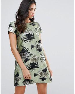 Short Sleeve Shift Dress In Swirl Print