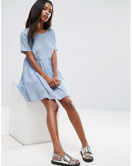 Casual Smock Dress In Grid Texture