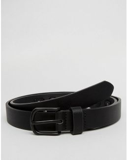 Slim Belt In Faux Leather With Black Coated Trims