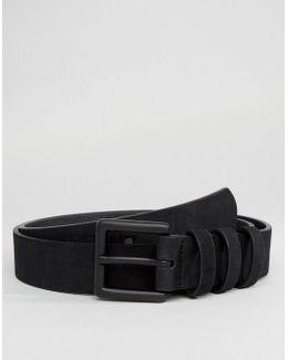 Smart Slim Belt In Faux Suede With Triple Keeper