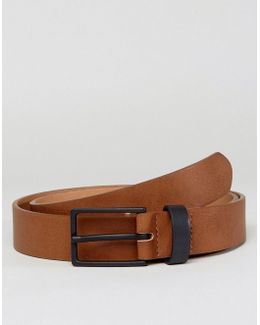 Smart Slim Belt In Faux Leather With Contrast Keeper