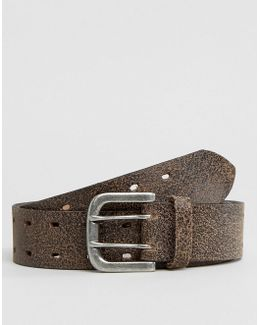 Wide Leather Belt With Vintage Finish