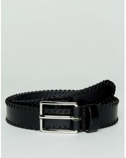 Smart Slim Leather Belt With Whip Stitching In Black