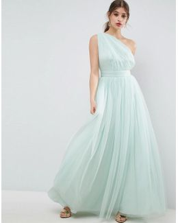 Premium Tulle One Shoulder Maxi Dress