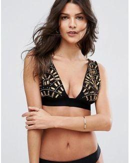 Premium Golden Fan Embellished Deep Triangle Bikini Top