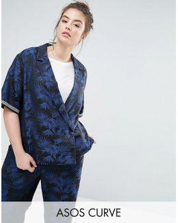 Palm Jacquard Side Stripe Jacket